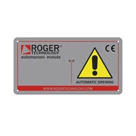 "R99/C/001 ROGER Tabella Segnaletica ""Automatic opening"""