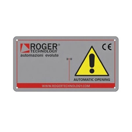 """R99/C/001 ROGER Tabella Segnaletica """"Automatic opening"""""""