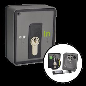 IN-SEL-DAMPER INTEGRA Selettore a chiave in alluminio da parete con sblocco elettrofreno e borchia in alluminio per incasso